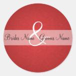 Sellos rojos de la invitación del boda del vintage etiqueta