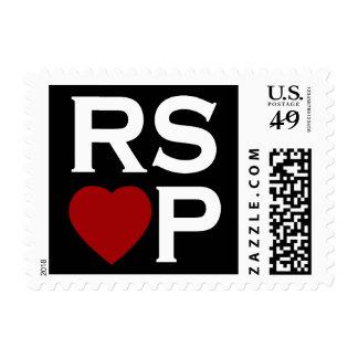 Sellos rojos del corazón de RSVP