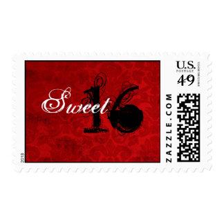 Sellos rojos del dulce dieciséis del vintage