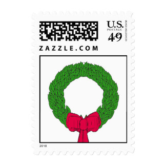 Sellos rojos del navidad de la guirnalda del verde