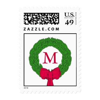 Sellos rojos del navidad del monograma de la guirn