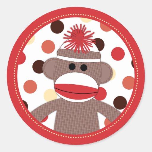 Sellos rojos del pegatina del favor del mono del