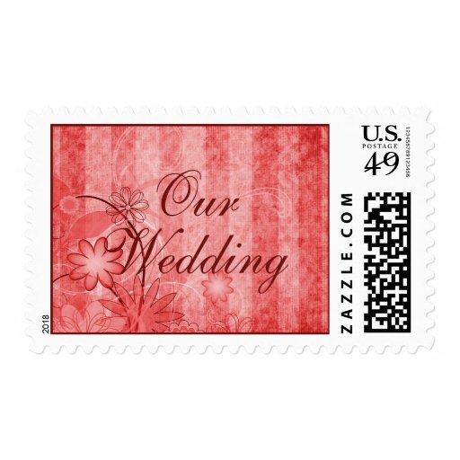 Sellos rojos florales de encargo del boda