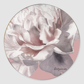 Sellos rosados beige del sobre del boda del Peony Pegatina Redonda