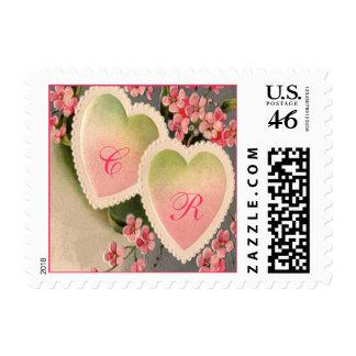 sellos rosados del boda del vintage