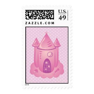 Sellos rosados del castillo del cuento de hadas