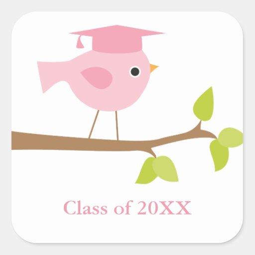 Sellos rosados del sobre de la graduación del pegatina cuadrada