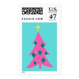Sellos rosados retros del árbol de navidad