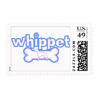 Sellos rosados y azules de Whippet