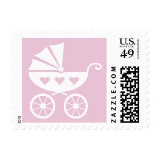 Sellos rosados y blancos del carro de bebé