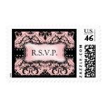 Sellos rosados y negros hermosos de RSVP del damas