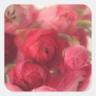 Sellos rosados y pegatinas del sobre floral pegatina cuadrada