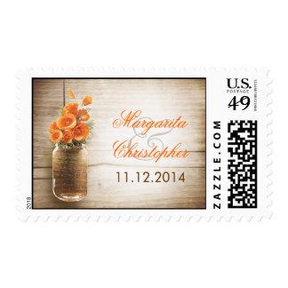 sellos rústicos del boda del tarro de albañil