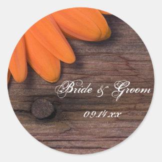 Sellos rústicos del sobre del boda del país de la pegatina redonda