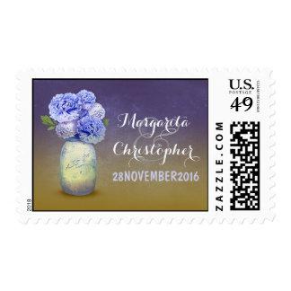 sellos rústicos pintados del boda del tarro de alb