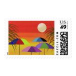 Sellos tropicales de la puesta del sol del paragua