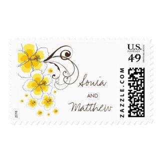 sellos tropicales del boda del amarillo del hibisc