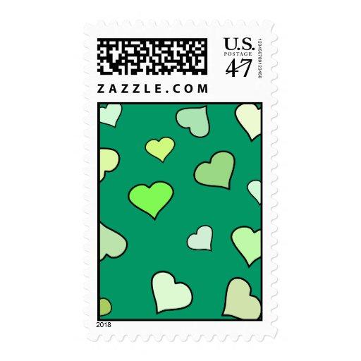 Sellos verdes de los corazones del día del St