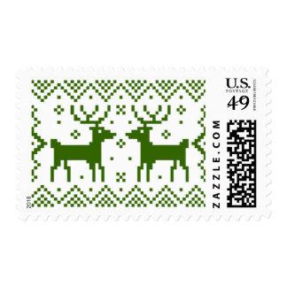 Sellos verdes del reno para las tarjetas de