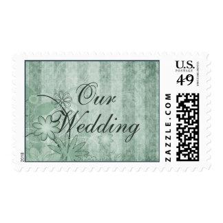 Sellos verdes florales de encargo del boda