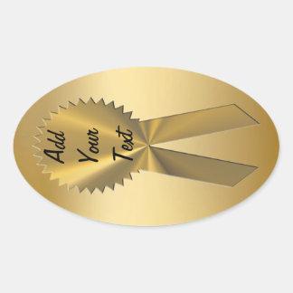 Sellos y pegatinas de la cinta del oro doble calcomanía óval personalizadas