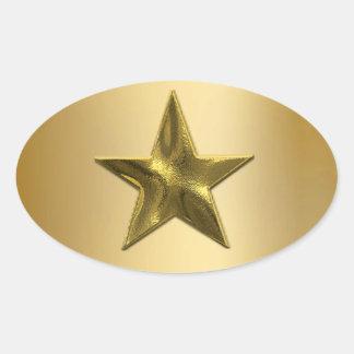 Sellos y pegatinas de la estrella del oro calcomanía óval personalizadas