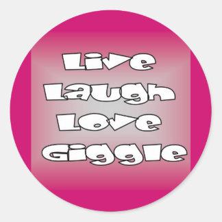 Sellos y tarjetas vivos de la risita del amor de etiqueta redonda