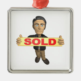 Sellout Square Metal Christmas Ornament