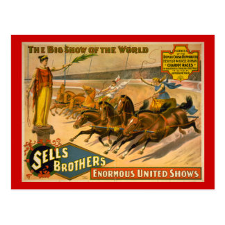 Sells Brothers Chariot Races Circus Poster Postcard