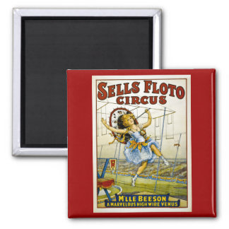 Sells Floto 1921 - M'lle Beeson 2 Inch Square Magnet