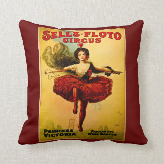Sells Floto Circus Princess Victoria Wire Dancer Throw Pillow