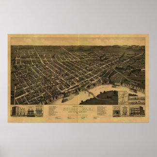 Selma, Alabama 1887 Panoramic Map Birds Eye View Print