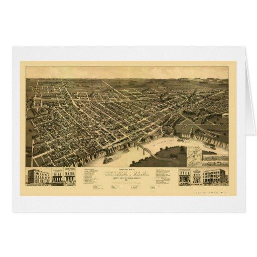 Selma, mapa panorámico del AL - 1887 Felicitacion