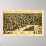 Selma, mapa panorámico del AL - 1887 Poster