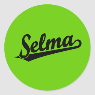 Selma script logo in black classic round sticker