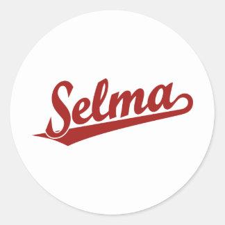 Selma script logo in red classic round sticker