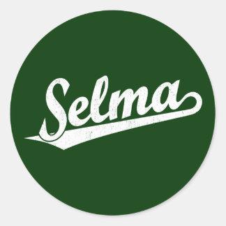 Selma script logo in white distressed classic round sticker