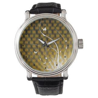 Selva abstracta de Basketweave (oro) Reloj De Mano
