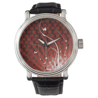 Selva abstracta de Basketweave (roja) Relojes De Pulsera