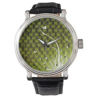 Selva abstracta de Basketweave (verde) Relojes De Mano