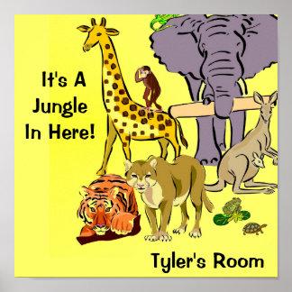 Selva, animales del parque zoológico poster