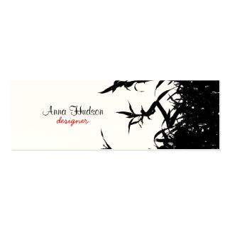 Selva de bambú - tallos, hojas, cañas - negro plantilla de tarjeta personal