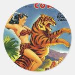 Selva de la época dorada cómica etiquetas redondas