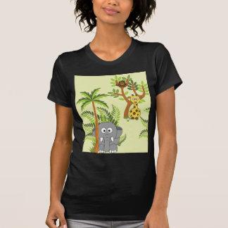 Selva del dibujo animado (elefante, jirafa, mono) playeras