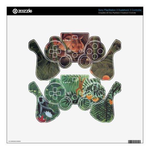 Selva del mono del tigre por la bella arte de Henr Skins Para Mandos PS3