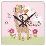 Selva Jill/reloj de BabyNursery del niño animal Reloj Cuadrado