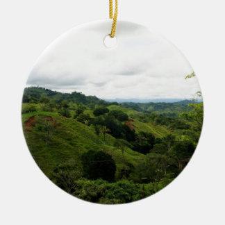 Selva tropical de Costa Rica Adorno Navideño Redondo De Cerámica