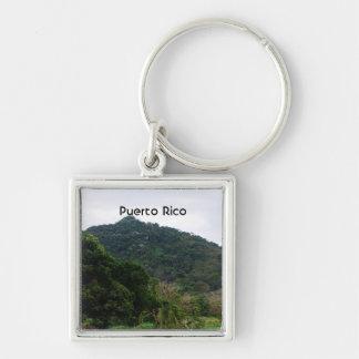 Selva tropical puertorriqueña llavero cuadrado plateado