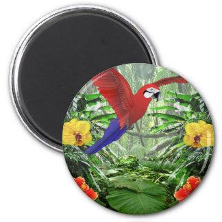 Selva tropical tropical imán redondo 5 cm