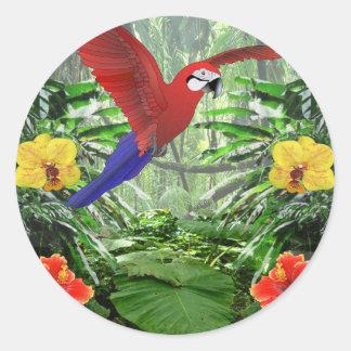 Selva tropical tropical pegatina redonda